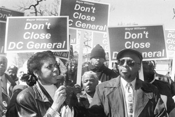 Lyn Speed and Harold James, press conference to save D.C. General Hospital